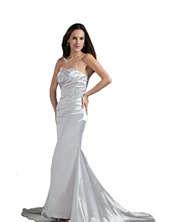 3acad9ff604 Amazon.com  Kivary® Women s Strapless Evening Dresses Silver Beaded ...