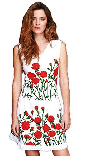Almatrichi - Vestido - para mujer blanco White Red 18