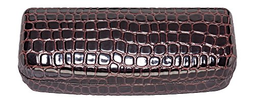 Glasses Case For Men & Women, Hard Eyeglass Case In Faux Crocodile Leather, Brown