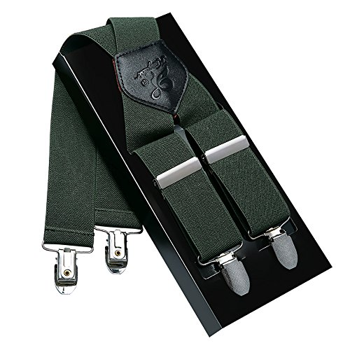 Men Suspenders KANGDAI Suspenders For Men Green 4 Clips Wide 1.4'' X Back Heavy Duty Men Braces Elastic Durable Suspenders Strong Metal Clips (Green) by YOUNGJIAN