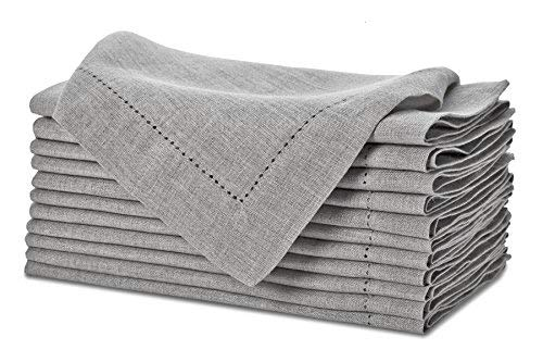 Pure Linen Oversized Napkins 12 Pack - Pure Linen Hemstitch Napkins - (Set of 12) Size 20x20 Charcoal - Hand Crafted and Hand Stitched Napkins with Hemstitch detailing on Genuine Linen Fabric