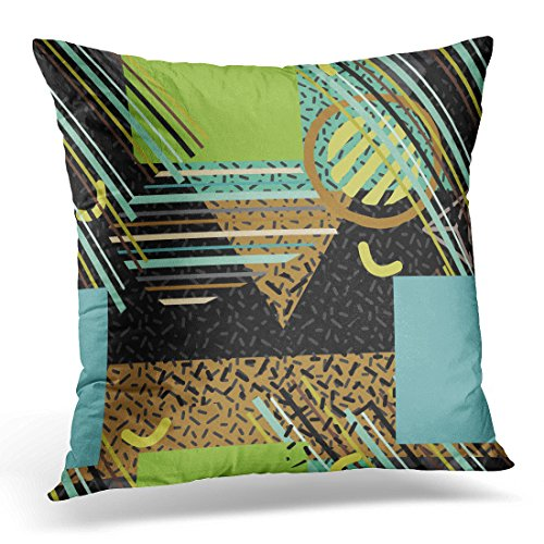 Breezat Throw Pillow Cover Colorful 1960S Hipster Geometric Abstract Shapes Memphis Pop Trendy Style Minimal Funky Design 1970S Decorative Pillow Case Home Decor Square 16x16 Inches Pillowcase