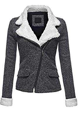 Luna Flower Women's Double Breasted Moto 2Tone French Terry Knit Jackets
