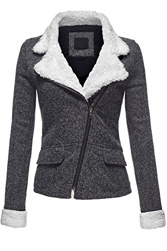 Knit Collar Jacket (Slim Fit Faux Fur Collar 2Tone Melange Fleece Knit Jackets, 047 - Black, Small)
