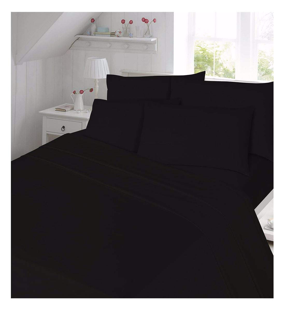 Rimi Hanger Luxury Thermal Flannelette Flat Sheet Cotton Bedding Sheet and Pillowcase Set Black Double Size