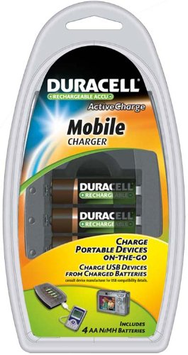 Duracell Mobile Charger with 4 AA Rechargeable NiMH Batteries, CEF23AU (Australian Plug with US Adapter)