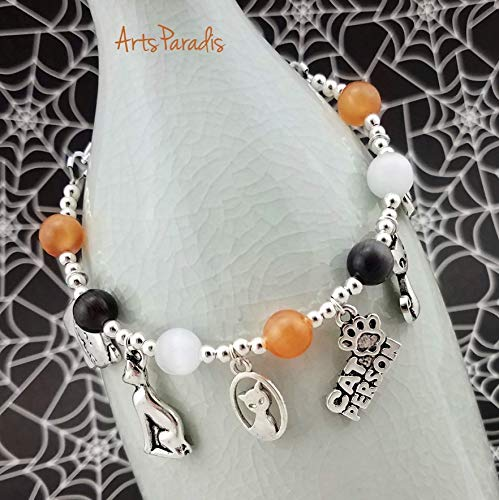 Cat and Kitten Lover Charm Bracelet Silvertone with Calico Cat's Eye by -