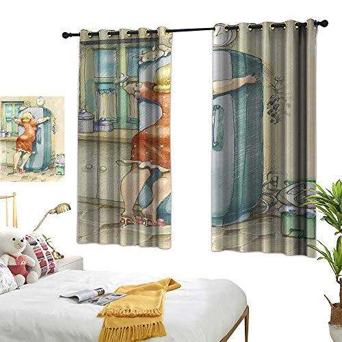 """WinfreyDecor Funny Light Luxury high-end Curtains A Plump Woman Embracing The Fridge with Passion Stress Eating Diet Calories Theme 72"""" Wx63 L, Privacy Protection"""