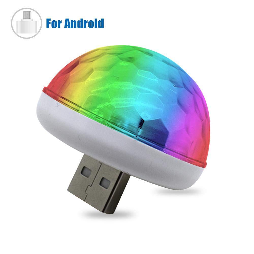 Adapter mini /éclairage de sc/ène DJ Karaok/é D/écoration de No/ël Volwco Lampe dambiance LED pour voiture Lumi/ère dint/érieur USB Lumi/ère de voiture Boule disco Activ/é par le son pour f/êtes