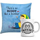 Giftsbymeeta Buddy Cushion With White Mug Online Rakhi Gift Combo For Brother RAKHIGIFTS9124