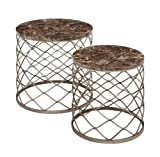 Benzara The Breathtaking Metal Faux Marble Tables, 22.05 by 22.05 by 22.05-Inch, Brown