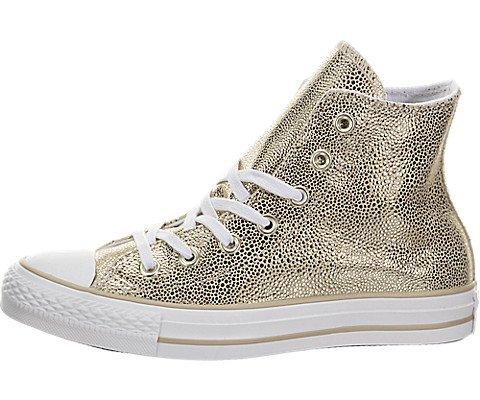 Converse Womens Chuck Taylor All Star Stingray Metallic Hi Top Gold/Black/White Sneaker – 5