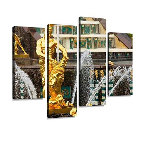 Famous Samson and The Lion Fountain in Peterhof Grand Cascade Canvas Wall Art Hanging Paintings Modern Artwork Abstract Picture Prints Home Decoration Gift Unique Designed Framed 4 Panel ()