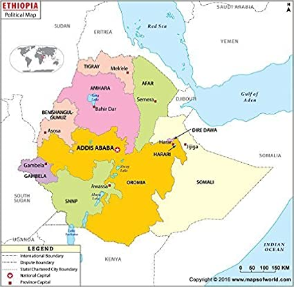 Amazon.com : Political Map of Ethiopia (36\