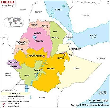 Amazon.com : Political Map of Ethiopia - Laminated (36