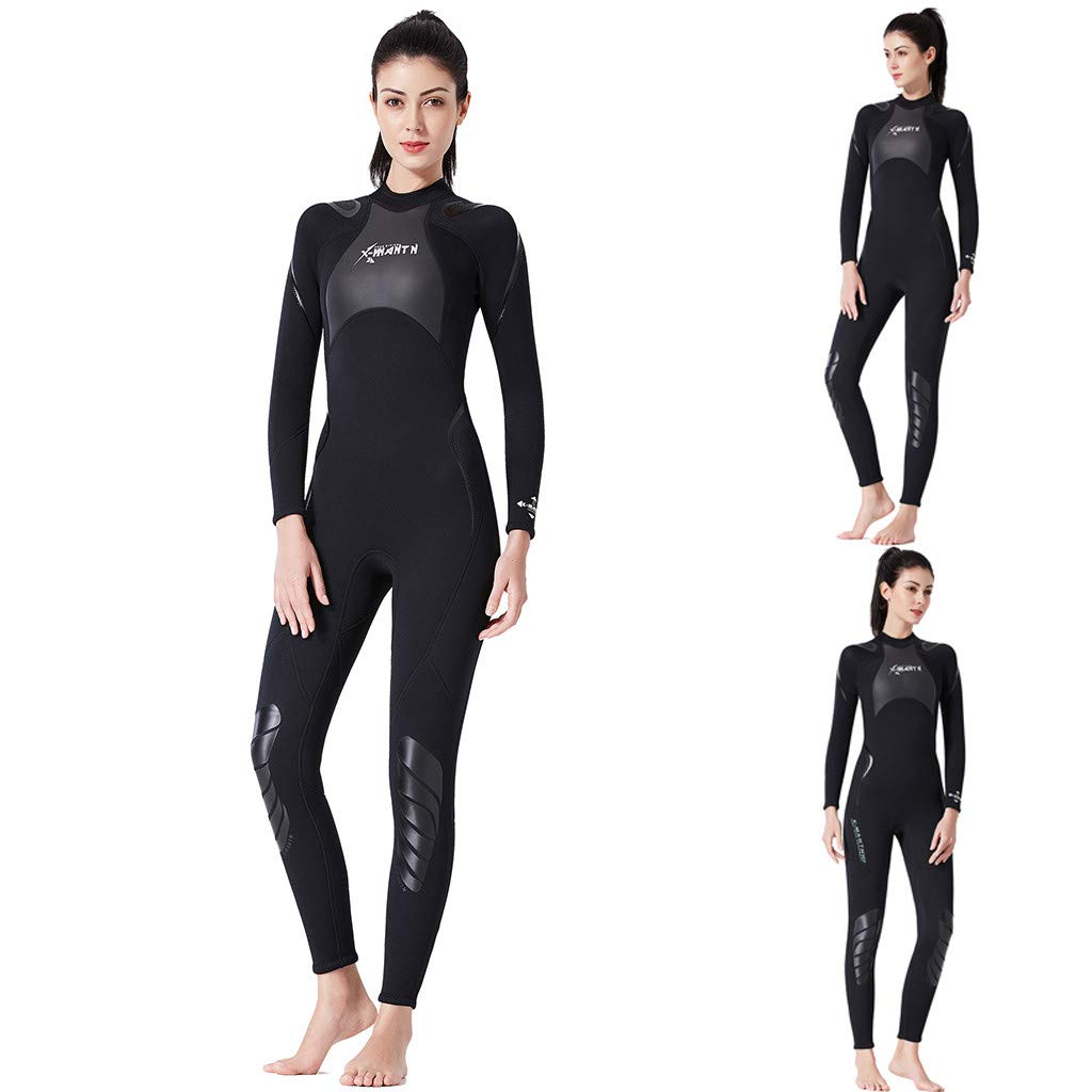 TANLANG Womens Wetsuits Jumpsuit Neoprene 3/3mm Full Body Diving Suit Fashion One-Piece Warm Swimming Surf Black by TANLANG