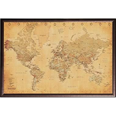 Framed Perfect For Push Pins World Map Vintage 36x24 Poster In Rust Finish Wood Frame Art Print Trip Tracking