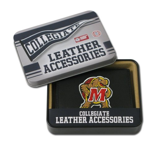 NCAA Maryland Terrapins Embroidered Genuine Leather Trifold (Maryland Terrapins Ncaa Leather)