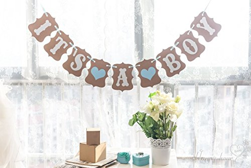 (It's A BOY Paper Garland Bunting Banner Rustic Christening Baby Shower Decoration Birthday Party)