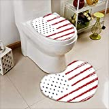 Toilet Heart Shaped Foot pad Texture Flag of United States America Washable Non-Slip W20 x H24 / W15 x H18