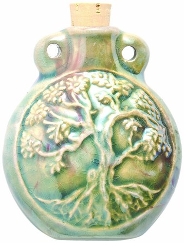 Shipwreck Beads Peruvian Hand Crafted Ceramic Raku Glazed Tree of Life Bottle Pendant, 49mm