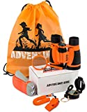 Toys : Adventure Kidz - Outdoor Exploration Kit, Children's Toy Binoculars, Flashlight, Compass, Whistle, Magnifying Glass, Backpack. Great Kids Gift Set for Camping, Hiking, Educational and Pretend Play.