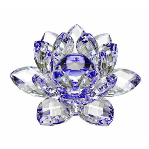 """4"""" Amlong Crystal Blue Hue Reflection Crystal Lotus Flower with Gift Box"""