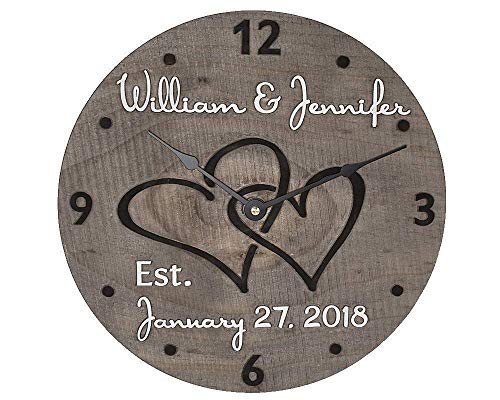 11 Inch Personalized Wooden Wall Clock for Couple - Handmade Wood Anniversary Gift for Wife and Husband - Unique Gift Idea for Bridal Shower, Engagement, or Wedding