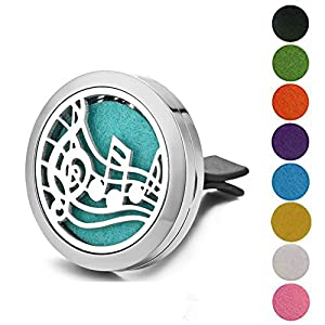 Jenia Office&Car Perfume Essential Oil Diffuser Locket With Vent Clip Aromatherapy Stainless Steel 30mm