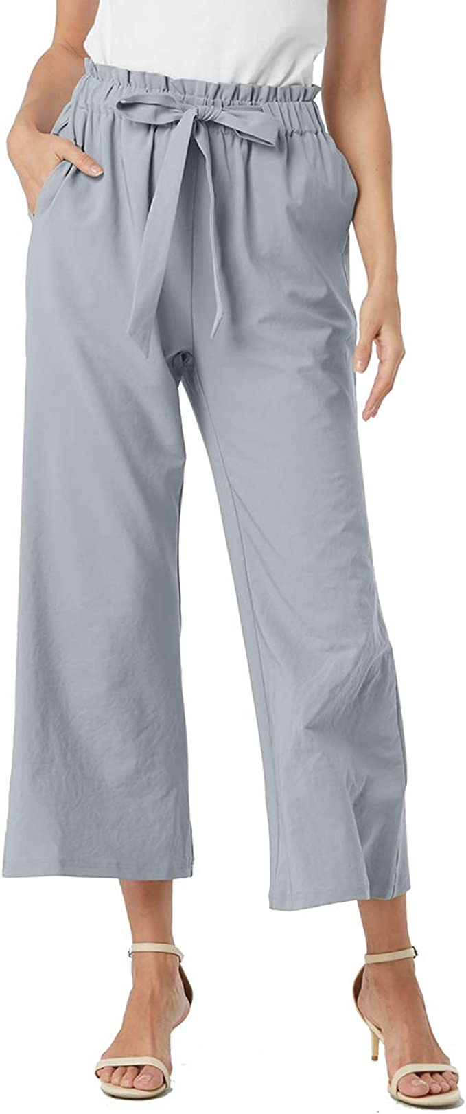 Pantalones De Playa Para Mujer De Aprance Con Pierna Ancha Informales Sueltos Suaves Comodos Transpirables Elasticos M Clothing Amazon Com