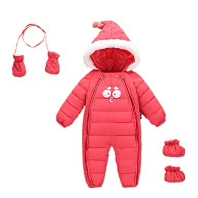 65b14d347 Amazon.com  Baby Girls Winter Romper Infant Dowm Jumpsuit Thick Warm ...