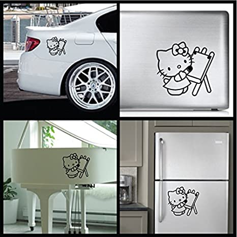 Hello Kitty dibujar - Carcasa de Vinilo [15 cm negro] extraíble de vinilo adhesivo decorativo para pared, coche, ipad, Macbook, para portátil, ...