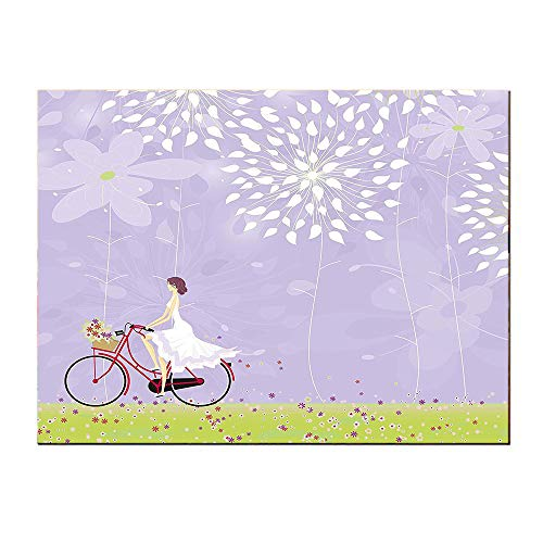SATVSHOP Canvas Texture Decoration Art-48Lx24W-Cartoon Girl iding Bike Windy Weather in The Garden with Grass Art Apple Green White and Purple Grey.Self-Adhesive backplane/for Living Room corridors.