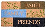 J&M Home Fashions 10666A Natural Coir Coco Fiber Non-Slip Outdoor/Indoor Doormat, 18x30, Faith Family Friends