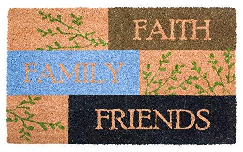 J & M Home Fashions 10666A Natural Coir Coco Fiber Non-Slip Outdoor/Indoor Doormat, 18x30, Faith Family Friends ()