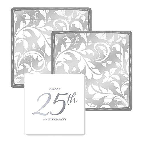 25th Anniversary Silver Foil Paper Dessert Plates and Paper Napkins, 16 Servings, Bundle- 3 Items