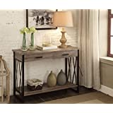 Weathered Grey Reclaimed Look Console Sofa Table X-Design with Two Drawers / Shelf