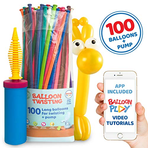 Balloon Animal Kit for beginners by BalloonPlay | 100 long balloons for balloon animal, Pump and Balloon App with 40+ video tutorials fun gift for Boys, Girls & Adults (Balloon Twisting Videos)