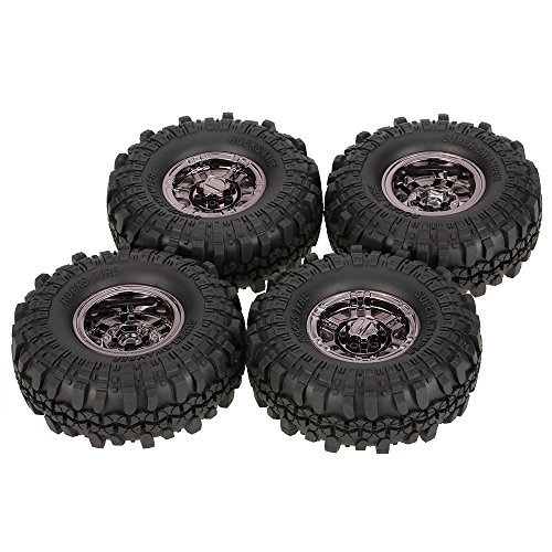 (Goolsky 4Pcs AUSTAR AX-4020C 1.9 Inch 110mm 1/10 Rock Crawler Tires with Beadlock Wheel Rim for D90 SCX10 AXIAL RC4WD TF2 RC Car)