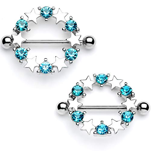 Body Candy 14G Nipplering Piercing 316L Steel 2Pc Blue Accent Star Barbell Nipple Shield Set of 2 7/8
