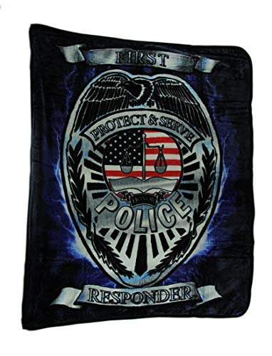 Earth Ragz 50 inch 60 inch Plush Coral Fleece First Responder Blanket Throws - Fire Police EMT (Police - 1ST Responder)