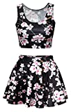 girls tank tops size 10 12 - Print Retro Floral Plum Blossom Stretchy Tank Top and Skirt Set for Big Girls