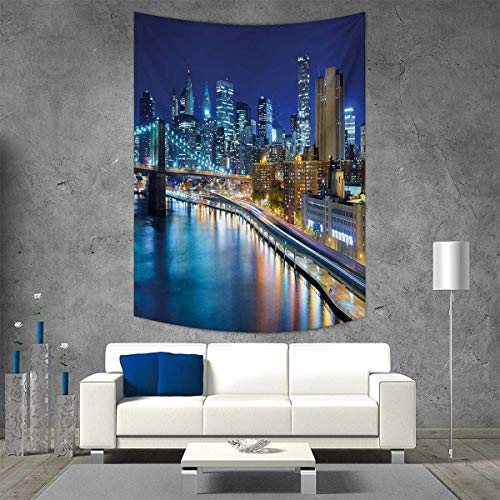 smallbeefly Landscape Wall Hanging Tapestries View of Famous New York City Manhattan Bay Harbour at Night and Skyscrapers Print Large tablecloths 40W x 60L INCH Multicolor