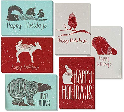 48 Pack Christmas Greeting Cards - 6 Assorted Winter Animal Designs for Holiday Greetings, Envelopes Included