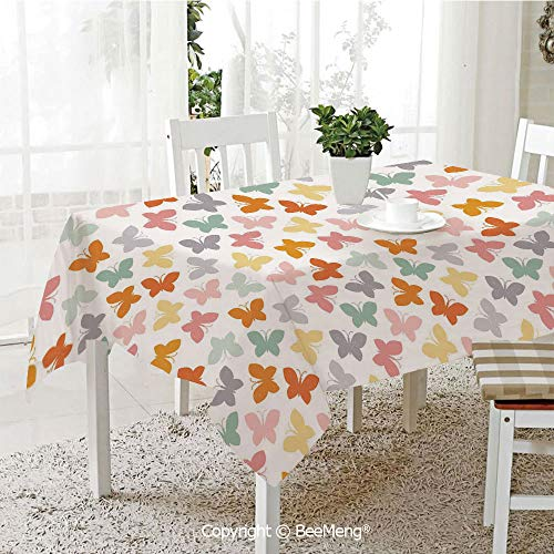 (BeeMeng Large Family Picnic Tablecloth,Easy to Carry Outdoors,Geometric,Nature Inspired Colorful Butterflies Animal Imagery Spring Summer Season Image Decorative,Multicolor,59 x 104 inches)