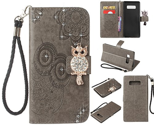 (Glitter Diamond Wallet Case for Samsung Galaxy Note 8,Gostyle Embossed Owl Flower Leather Flip Card Holder Case,3D Bling Rhinestone Magnetic Closure with Hand Strap Stand Cover-Gray)