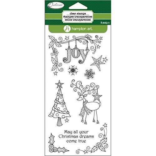 """UPC 729632155413, Outlines Clear Stamp Set 4""""X8"""" Sheet-Reindeer Joy"""