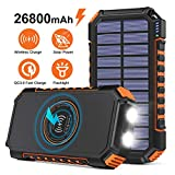 Wireless Solar Charger 26800mAh, Riapow Portable