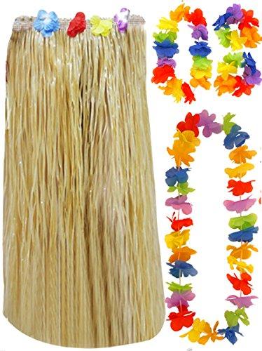 Ladies Hula Skirt 80 cm 5 Pc Lei Set Hawaiian Fancy Dress Outfit (5 pc Natural Hula Set)