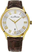 Alexander Statesman Triumph Wrist Watch For Men - Stainless Steel Plated Yellow Gold Watch - Brown Leather Analog Swiss Watch - Silver White Dial Date Mens Designer Watch A103-07
